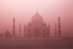 Taj Mahal at sunrise in fog Stock Images