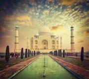 Taj Mahal on sunrise sunset, Agra, India. Taj Mahal on sunrise sunset, Indian Symbol - India travel background. Agra, Uttar Pradesh, India. Retro vintage hipster Stock Image
