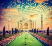 Taj Mahal on sunrise sunset, Agra, India. Vintage retro effect filtered hipster style image of  Taj Mahal on sunrise sunset, Indian Symbol - India travel Royalty Free Stock Photos
