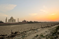 The Taj Mahal at sunset Stock Photo