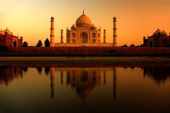 Taj mahal during sunset Stock Photos