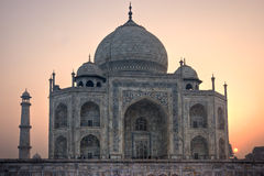 Taj Mahal at sunset, Agra, Uttar Pradesh, India. Royalty Free Stock Image