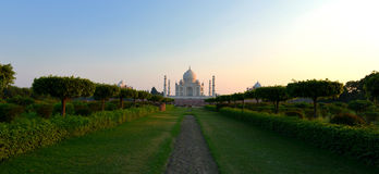 Taj Mahal at Sunset, India. View from the Mehtab Bagh of the Taj Mahal  crown of palaces, which is a white marble mausoleum located in Agra, Uttar Pradesh, India Stock Images