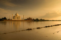 Taj Mahal in sunset scene Stock Photography