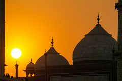 Taj Mahal sunset view. From the banks of the Yamuna river Royalty Free Stock Photography