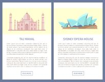 Taj Mahal Sydney Opera House vektorillustration royaltyfri illustrationer