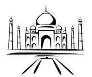 Taj mahal symbol in black lines Royalty Free Stock Photo