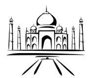 Taj mahal symbol in black lines stock illustration