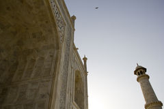 Taj Mahal tätare sikt av marmor, Agra Arkivbilder