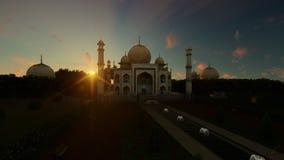 Taj Mahal tegen mooie timelapsezonsopgang, panning, 4K vector illustratie