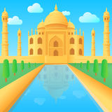 Taj Mahal tempelillustration i Indien stock illustrationer