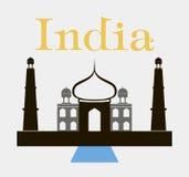 Taj-Mahal tempelsilhouet Vector Royalty-vrije Stock Foto