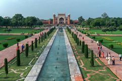 The Taj Mahal Temple, Agra, India. AGRA, INDIA - AUGUST 15, 2017: The Taj Mahal Temple, representative of Indian culture and spirituality Royalty Free Stock Image