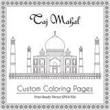 Taj Mahal Temple Coloring Book Stockbilder