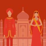 Taj Mahal Temple Landmark in Agra, India Indisch wit marmeren mausoleum, Indische architectuur De mooie vrouw en man w van Zuid-A Royalty-vrije Stock Foto's
