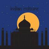 Taj Mahal Temple Landmark en Agra, la India Mausoleo de mármol blanco indio, noche india de la arquitectura libre illustration