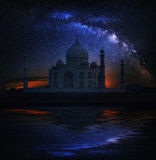 Taj Mahal Temple night, Agra, with Milky Way. Taj Mahal Temple, Agra, India Stock Photo