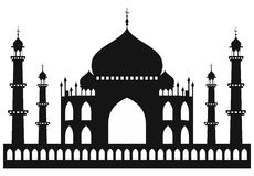 Taj-mahal temple silhouette Royalty Free Stock Photo