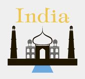 Taj-mahal temple silhouette. Vector Royalty Free Stock Photo