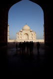 Taj Mahal and tourists within archway Stock Photography