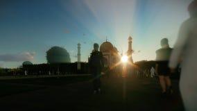 Taj Mahal with tourists walking against beautiful sunset, 4K vector illustration