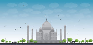 Taj Mahal with Tree and cow Royalty Free Stock Image