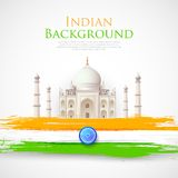 Taj Mahal with Tricolor India Flag Royalty Free Stock Photos
