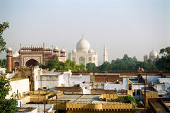 Taj Mahal view from hotel roof, India. The Taj Mahal as seen from the roof top of a hotel in Agra, India stock image