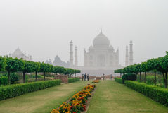 Taj Mahal view in morning fog from across the Mehtab Bagh or The Stock Image