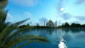 Taj Mahal, view from Yamuna River, aircraft passing against blue sky, panning vector illustration