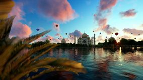 Taj Mahal, view from Yamuna River, hot air balloons flying against beautiful sunrise, panning royalty free illustration
