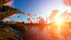 Taj Mahal, view from Yamuna River, hot air balloons flying against beautiful sunrise, tilt royalty free illustration