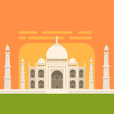 Taj Mahal White Burial Monument , Famous Traditional Touristic Symbol Of Indian Culture And Architecture. Colorful Vector Illustration With India Well-Known Royalty Free Stock Images