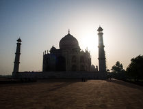 Taj Mahal, the white marble building. The shadow of Taj Mahal in the Morning Stock Images