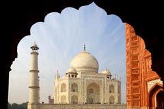 The Taj Mahal  white Marble mausoleum. Royalty Free Stock Photo