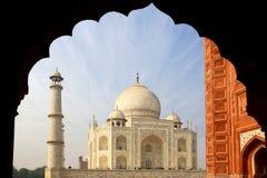 The Taj Mahal  white Marble mausoleum. Royalty Free Stock Photo