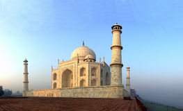 Taj Mahal. The Taj Mahal is a white marble mausoleum located on the southern bank of the Yamuna River in the Indian city of Agra. It was commissioned in 1632 by Royalty Free Stock Photos