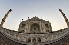 Taj Mahal, wide angle fish-eye, Agra India Royalty Free Stock Photo