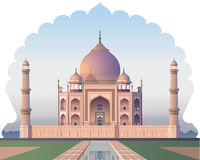 Taj Mahal through the window  acient India - Illustration Royalty Free Stock Photos