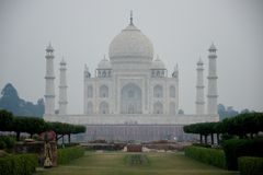 Taj Mahal with woman in foreground Royalty Free Stock Photo