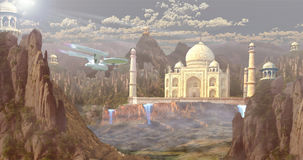 Taj Mahal the wonder of wolrd in future with spaceship matte paiting. In scrubland with some vegitation Royalty Free Stock Image