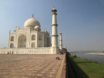 Taj Mahal on the Yamuna river bank Stock Image