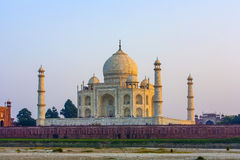 Taj mahal from yamuna river in sunset royalty free stock photography
