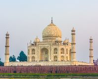 Taj mahal from yamuna river in sunset royalty free stock images