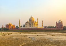 Taj mahal from yamuna river in sunset royalty free stock image