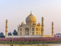 Taj mahal from yamuna river in sunset stock image