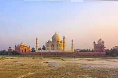 Taj mahal from yamuna river in sunset royalty free stock photos