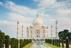 Taj Mahal in zonsopganglicht, Agra Stock Fotografie