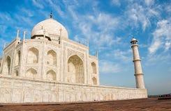 Taj Mahal in zonsopganglicht, Agra, India Stock Foto's