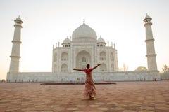 Taj Mahal in zonsopganglicht, Agra, India Stock Foto